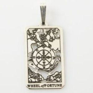 Wheel of Fortune Tarot Pendant Sterling Silver